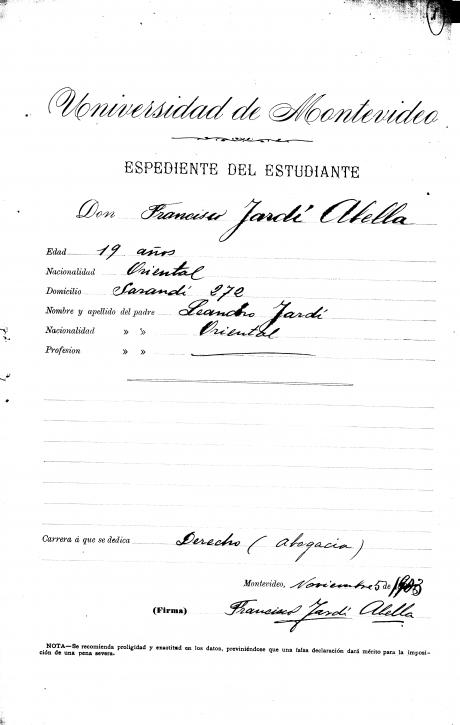 Legajos de Estudiantes de la Facultad de Derecho del periodo 1885 al 1965