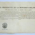Copia de Decreto Supremo emitido por José de la Riva Agüero, Presidente de la República, sobre disposiciones para la defensa de Lima y otras para contribuir en auxilios señalados por el Gobierno.