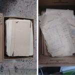 Archivo Parrish almacenado en cajas de cartón al momento de recibirlo