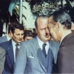 Guillermo Gallo y Jorge Rafael Videla en el aniversario de la Universidad. 1980