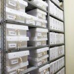 Documentos avulsos acondicionados em caixas poliondas depois do tratamento de preservação